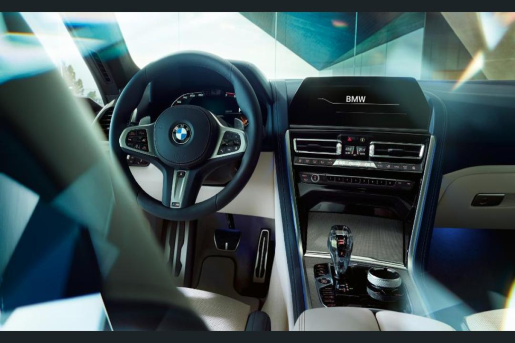 Interior of BMW M8 coupe