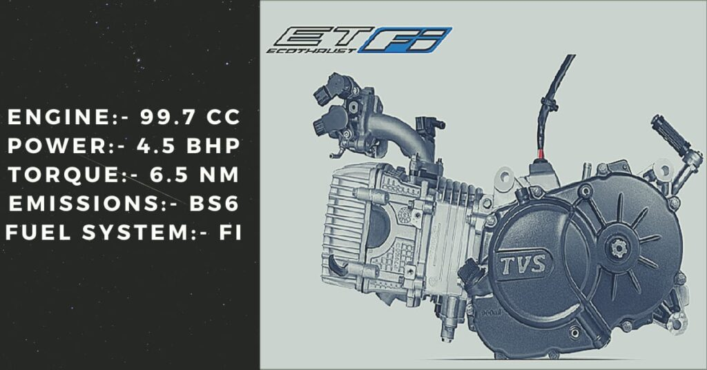 The BS6 engine in TVS XL 100 with the Ecothrust fuel injection system.