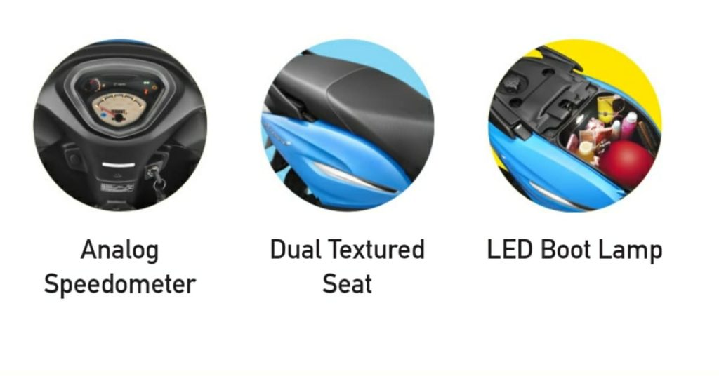 Features in Pleasure+ Like Analog Speedometer, Dual Textured Seat, LED Boot lamp.
