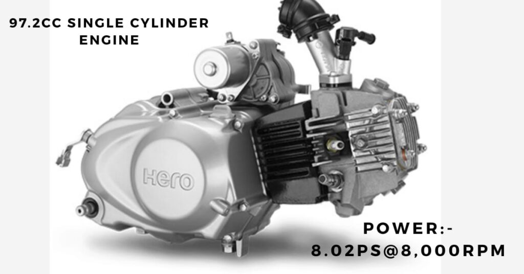 BS6 Hero HF Deluxe 97.2 cc single cylinder Engine.