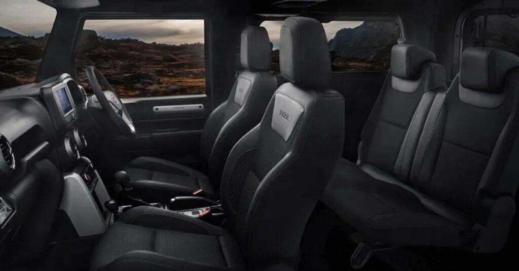 New Mahindra Thar 2020 Sporty front seats, recline rear seats