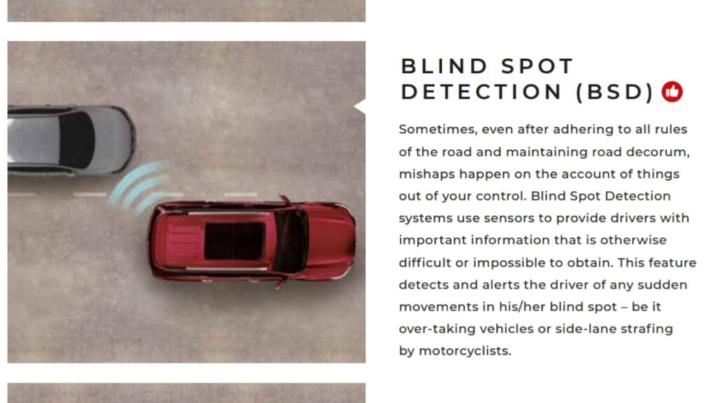 MG Gloster Blind Sport Detection