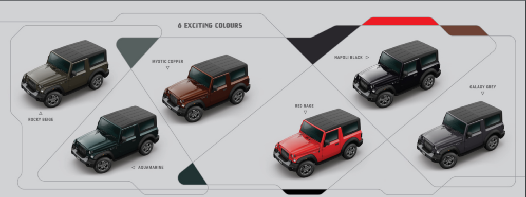 Mahindra Thar Exciting Colours