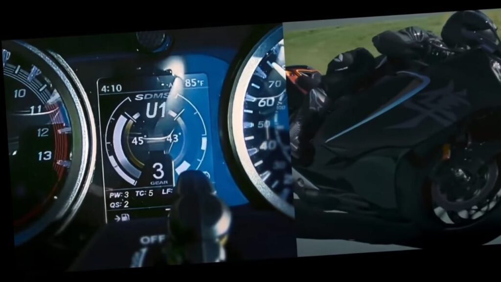 Lean angle show on Instrument cluster of Hayabusa